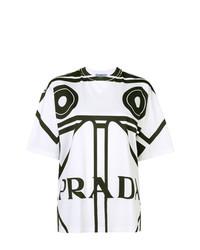 weißes und schwarzes bedrucktes T-Shirt mit einem Rundhalsausschnitt von Prada