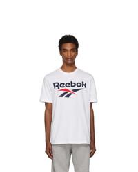 weißes und schwarzes bedrucktes T-Shirt mit einem Rundhalsausschnitt von Reebok Classics