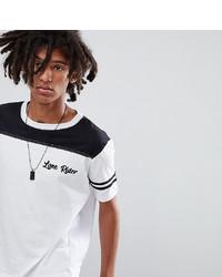 weißes und schwarzes bedrucktes T-Shirt mit einem Rundhalsausschnitt von Sacred Hawk