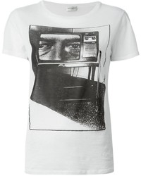 weißes und schwarzes bedrucktes T-Shirt mit einem Rundhalsausschnitt von Saint Laurent