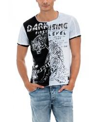 weißes und schwarzes bedrucktes T-Shirt mit einem Rundhalsausschnitt von SALSA