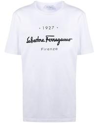 weißes und schwarzes bedrucktes T-Shirt mit einem Rundhalsausschnitt von Salvatore Ferragamo