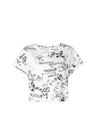 weißes und schwarzes bedrucktes T-Shirt mit einem Rundhalsausschnitt von See by Chloe
