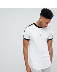weißes und schwarzes bedrucktes T-Shirt mit einem Rundhalsausschnitt von Sixth June