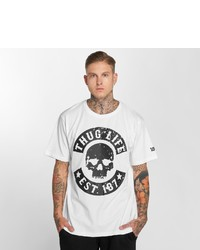 weißes und schwarzes bedrucktes T-Shirt mit einem Rundhalsausschnitt von Thug Life