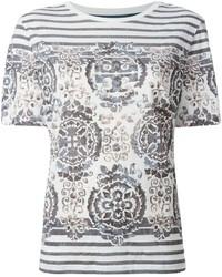 weißes und schwarzes bedrucktes T-Shirt mit einem Rundhalsausschnitt von Tory Burch