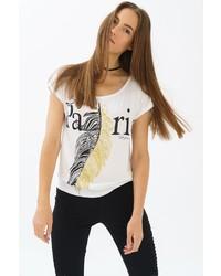 weißes und schwarzes bedrucktes T-Shirt mit einem Rundhalsausschnitt von TRUEPRODIGY