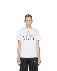 weißes und schwarzes bedrucktes T-Shirt mit einem Rundhalsausschnitt von Valentino
