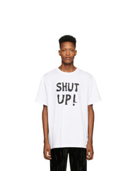 weißes und schwarzes bedrucktes T-Shirt mit einem Rundhalsausschnitt von Vetements