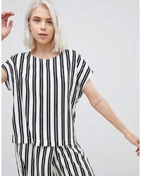weißes und schwarzes bedrucktes T-Shirt mit einem Rundhalsausschnitt von Weekday