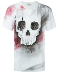 weißes und schwarzes bedrucktes T-Shirt mit einem Rundhalsausschnitt von Faith Connexion