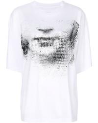 weißes und schwarzes bedrucktes T-Shirt mit einem Rundhalsausschnitt von Maison Margiela