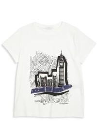 weißes und schwarzes bedrucktes T-shirt