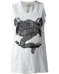 weißes und schwarzes bedrucktes Trägershirt von Stella McCartney