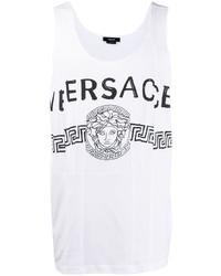 weißes und schwarzes bedrucktes Trägershirt von Versace