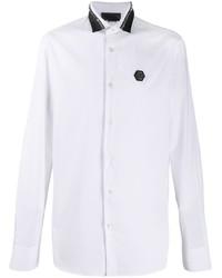 weißes und schwarzes beschlagenes Langarmhemd