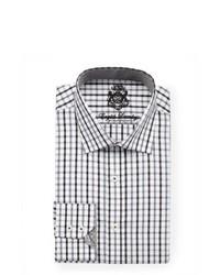 weißes und schwarzes Businesshemd mit Schottenmuster