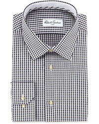 weißes und schwarzes Businesshemd mit Vichy-Muster