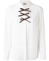 weißes und schwarzes Businesshemd von Sonia Rykiel