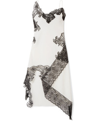 weißes und schwarzes Camisole-Kleid aus Spitze