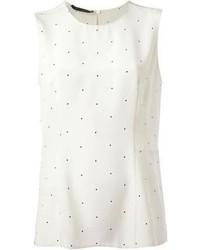 weißes und schwarzes gepunktetes ärmelloses Oberteil von Calvin Klein