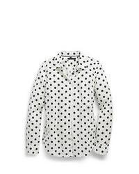 weißes und schwarzes gepunktetes Businesshemd