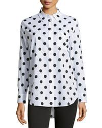 weißes und schwarzes gepunktetes Chiffon Businesshemd