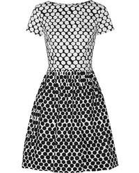 weißes und schwarzes gepunktetes Cocktailkleid von Oscar de la Renta