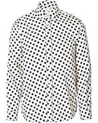 weißes und schwarzes gepunktetes Langarmhemd