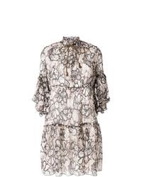weißes und schwarzes gerade geschnittenes Kleid mit Blumenmuster von See by Chloe