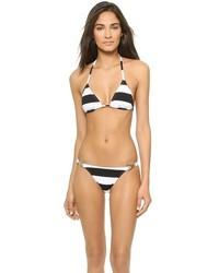 weißes und schwarzes horizontal gestreiftes Bikinioberteil von Pilyq