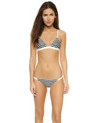 weißes und schwarzes horizontal gestreiftes Bikinioberteil von Solid & Striped