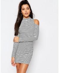 Weißes und schwarzes horizontal gestreiftes Figurbetontes Kleid von Missguided