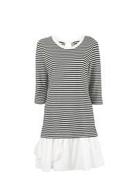 weißes und schwarzes horizontal gestreiftes Freizeitkleid von Boutique Moschino