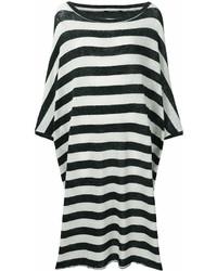 weißes und schwarzes horizontal gestreiftes Freizeitkleid
