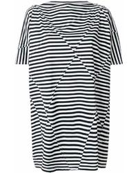 weißes und schwarzes horizontal gestreiftes Freizeitkleid von Junya Watanabe