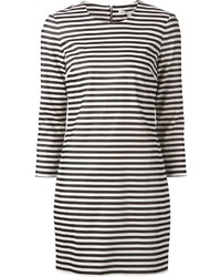 weißes und schwarzes horizontal gestreiftes gerade geschnittenes Kleid