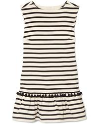 weißes und schwarzes horizontal gestreiftes gerade geschnittenes Kleid von Marc Jacobs
