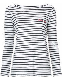 weißes und schwarzes horizontal gestreiftes Langarmshirt von A.L.C.