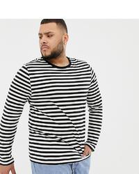 weißes und schwarzes horizontal gestreiftes Langarmshirt von ASOS DESIGN