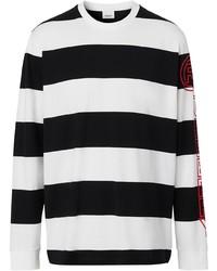 weißes und schwarzes horizontal gestreiftes Langarmshirt von Burberry