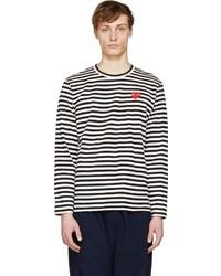 weißes und schwarzes horizontal gestreiftes Langarmshirt von Comme des Garcons