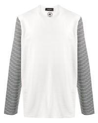 weißes und schwarzes horizontal gestreiftes Langarmshirt von DSQUARED2