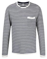 weißes und schwarzes horizontal gestreiftes Langarmshirt von Eleventy