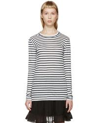 weißes und schwarzes horizontal gestreiftes Langarmshirt von Etoile Isabel Marant