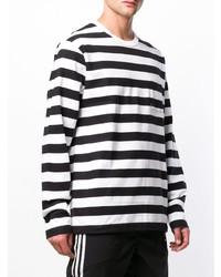 weißes und schwarzes horizontal gestreiftes Langarmshirt von Stussy