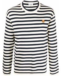 weißes und schwarzes horizontal gestreiftes Langarmshirt von Kenzo