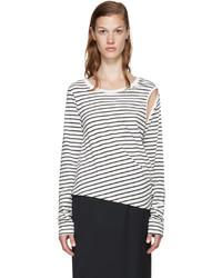weißes und schwarzes horizontal gestreiftes Langarmshirt von MM6 MAISON MARGIELA