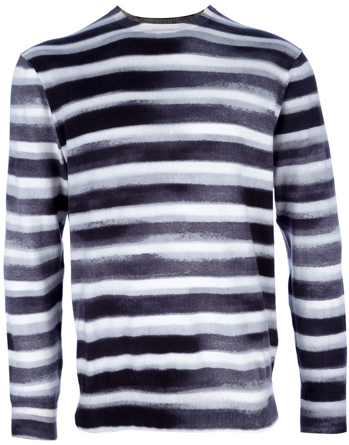 weißes und schwarzes horizontal gestreiftes Langarmshirt von Paul Smith