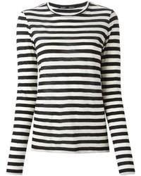 Weißes und schwarzes horizontal gestreiftes Langarmshirt von Proenza Schouler